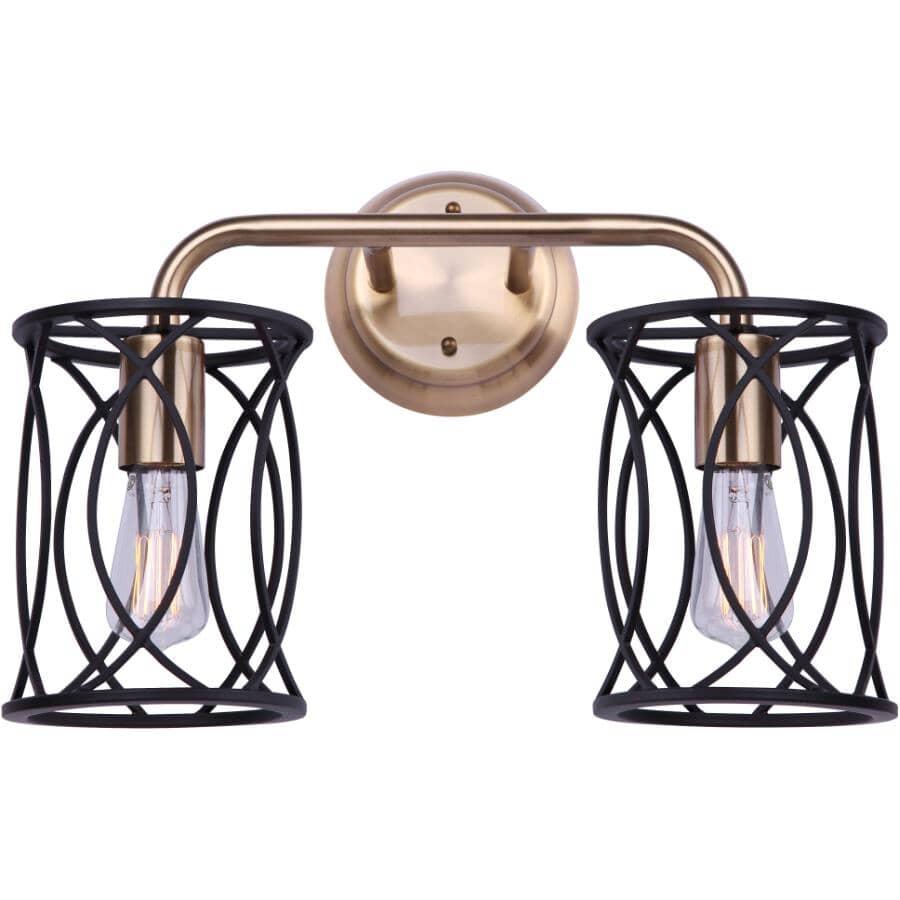 SCOTT MCGILLIVRAY:Alton Vanity Light Fixture - 2 Light, Matte Black & Gold