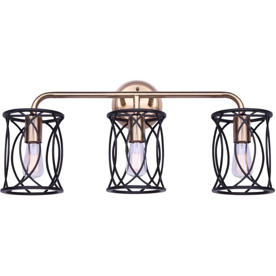 SCOTT MCGILLIVRAY:Alton Vanity Light Fixture - 3 Light, Matte Black & Gold