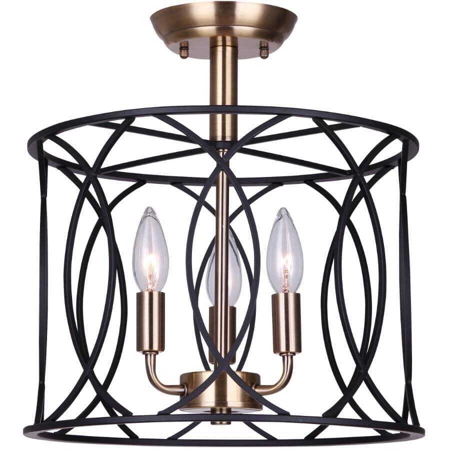 SCOTT MCGILLIVRAY:Alton Semi-flush Light Fixture - 3 Light, Matte Black & Gold