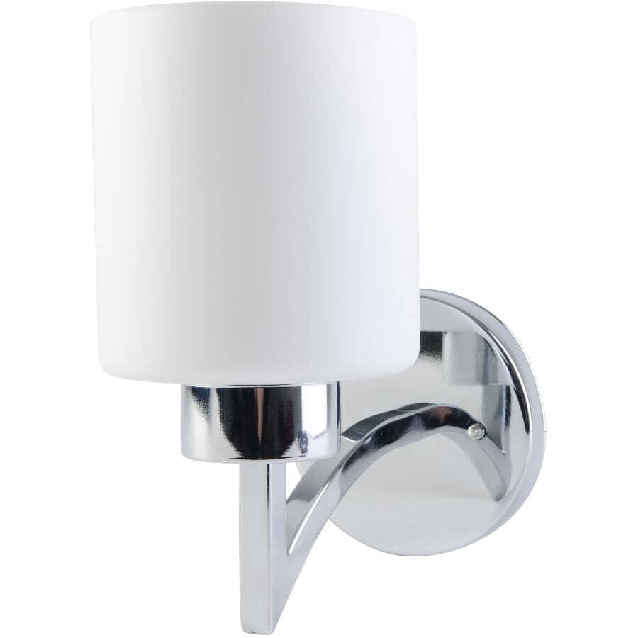 BELDI:Markham 1 Light Chrome Wall Light Fixture with Opal Frosted Glass