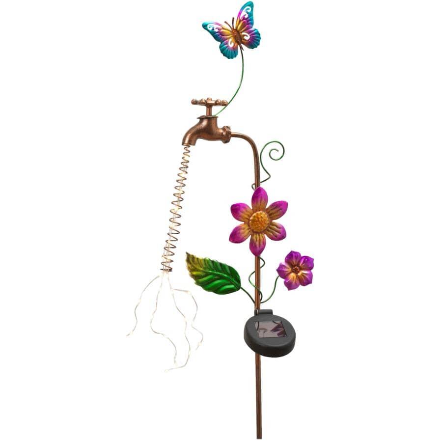 GERSON INTERNATIONAL:Metal Faucet Solar Garden Stake - Butterfly