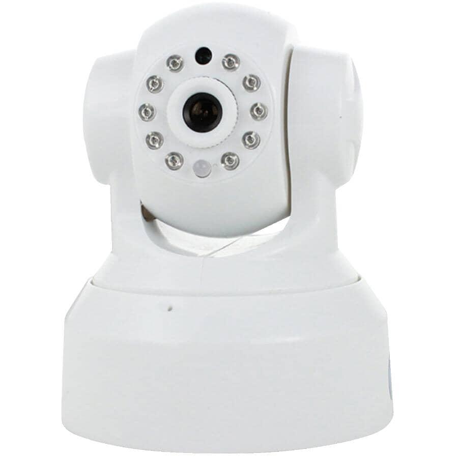 SKYLINK:Caméra de sécurité panoramique et inclinable de 720p pour l'intérieur avec wi-fi, blanc