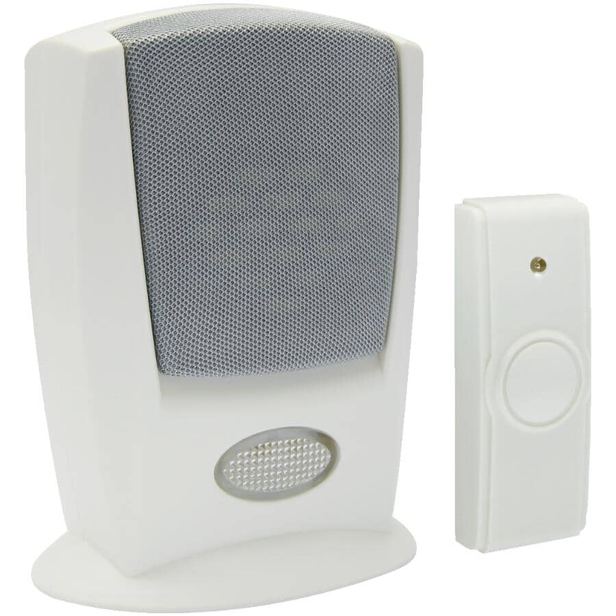 IQ AMERICA:Battery Operated Wireless Door Chime - with Strobe + Button