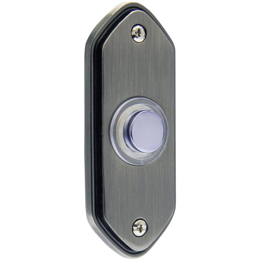 IQ AMERICA:Wired Lighted Doorbell Push Button - Pewter