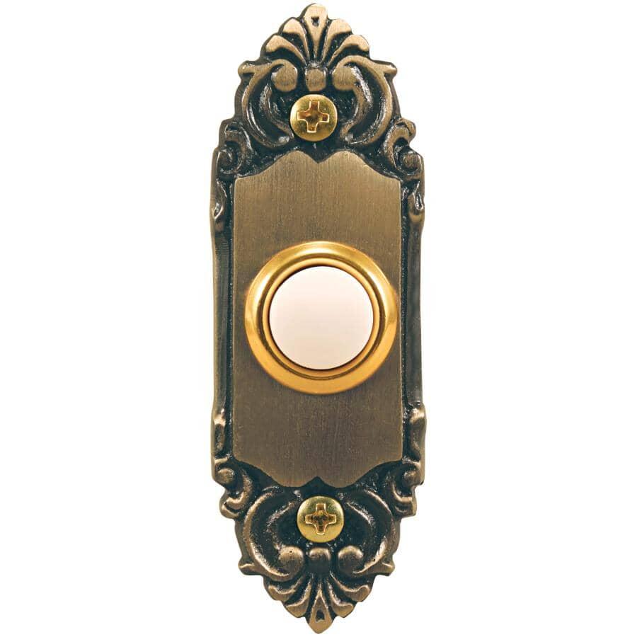 HEATH/ZENITH:Wired LED Push Button Doorbell - Recessed, Antique Brass