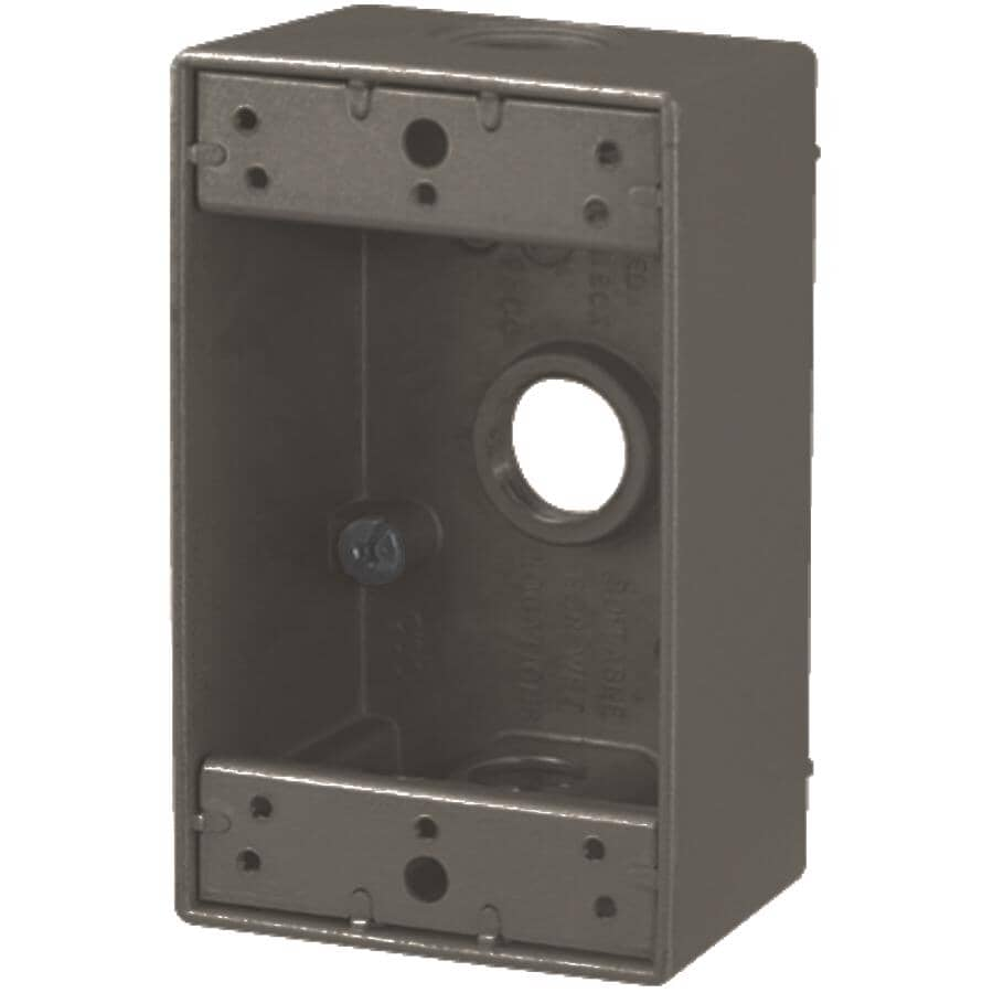 RED DOT:1 Gang Bronze Weatherproof Metal Wiring Box with 3 Threaded Outlets