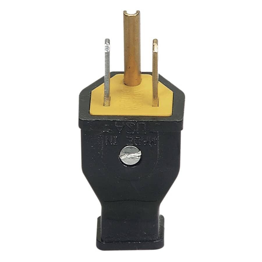 EATON:3 Wire 15 Amp 125V Black Electrical Plug