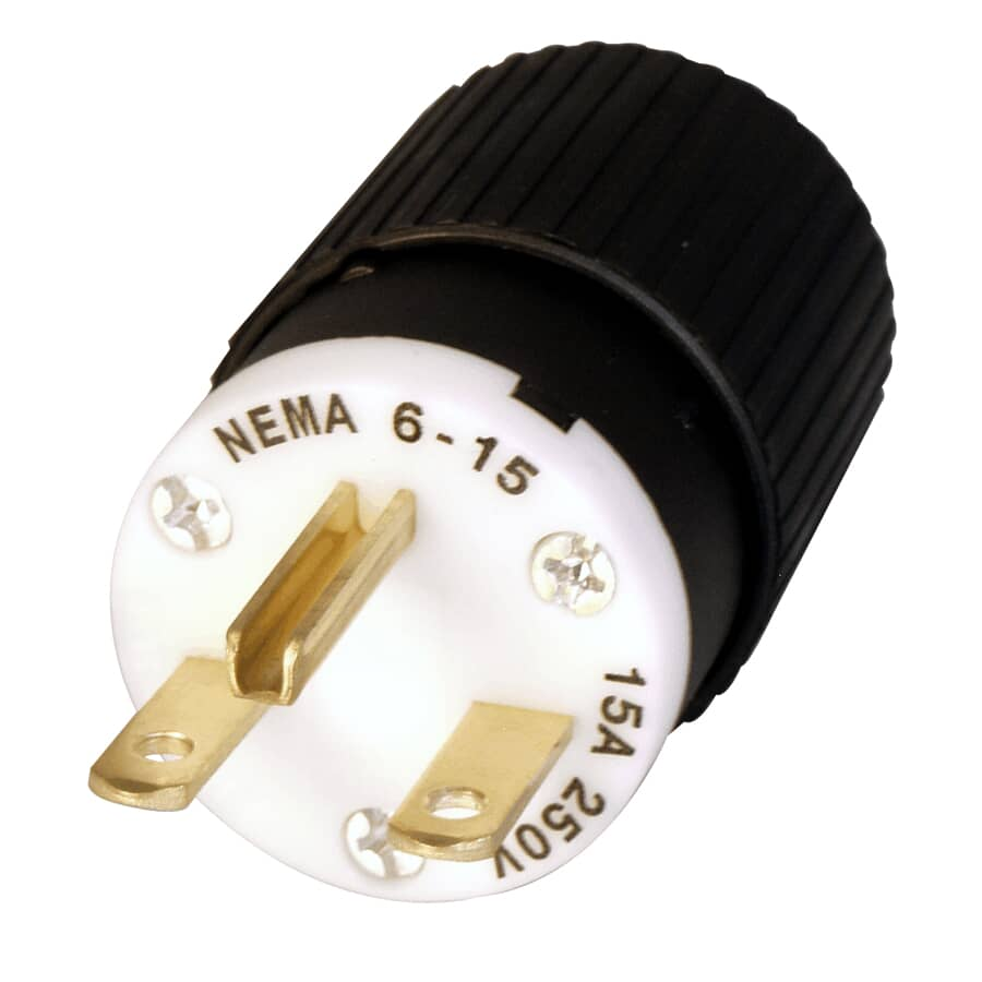 """HUBBELL:3 Wire 15 Amp 250V Electrical Plug for 7/16"""" Cord"""