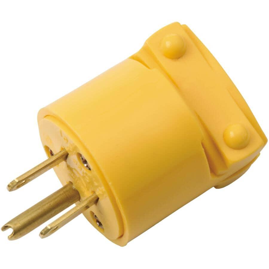 EATON:3 Wire 15 Amp 125V Yellow Vinyl Electrical Plug
