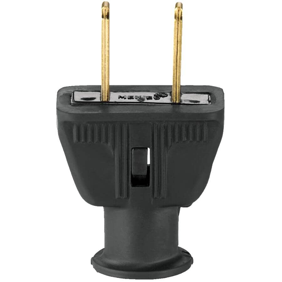 EATON:2 Wire 15 Amp 125V Black Rubber Electrical Plug