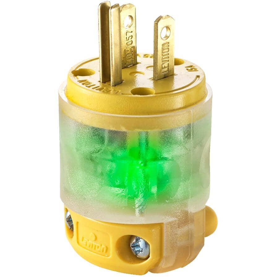 LEVITON:15 Amp 125V 2 Pole 3 Wire Straight Blade Lighted Plug