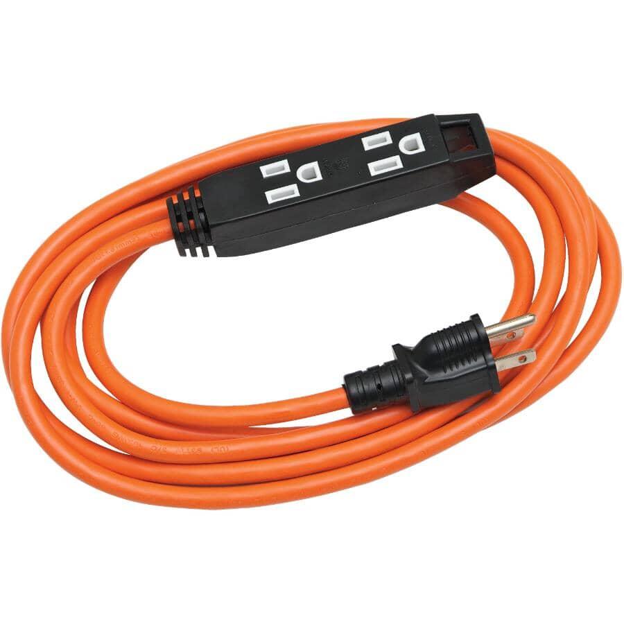 POWER EXTENDER:Rallonge d'extérieur SJTW orange à 3 prises, 3 m