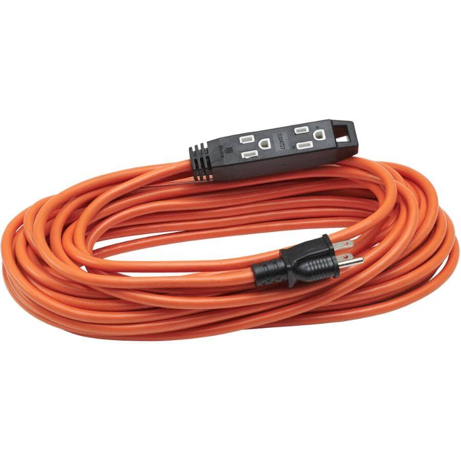 POWER EXTENDER:3 Outlet SJTW Orange Outdoor Extension Cord - 15 m