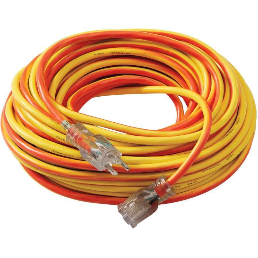 POWER EXTENDER:SJTW Indoor Lighted Extension Cord - Yellow + Orange Stripe, 22 m