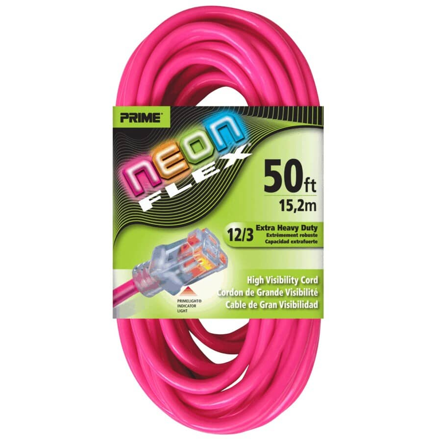 PRIME:50' 1 Outlet SJTW 12/3 Neon Pink Extension Cord