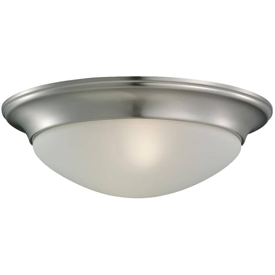 """SEA GULL:Nash 11.5"""" Brushed Nickel Flush Light Fixture with Satin Etched Glass"""