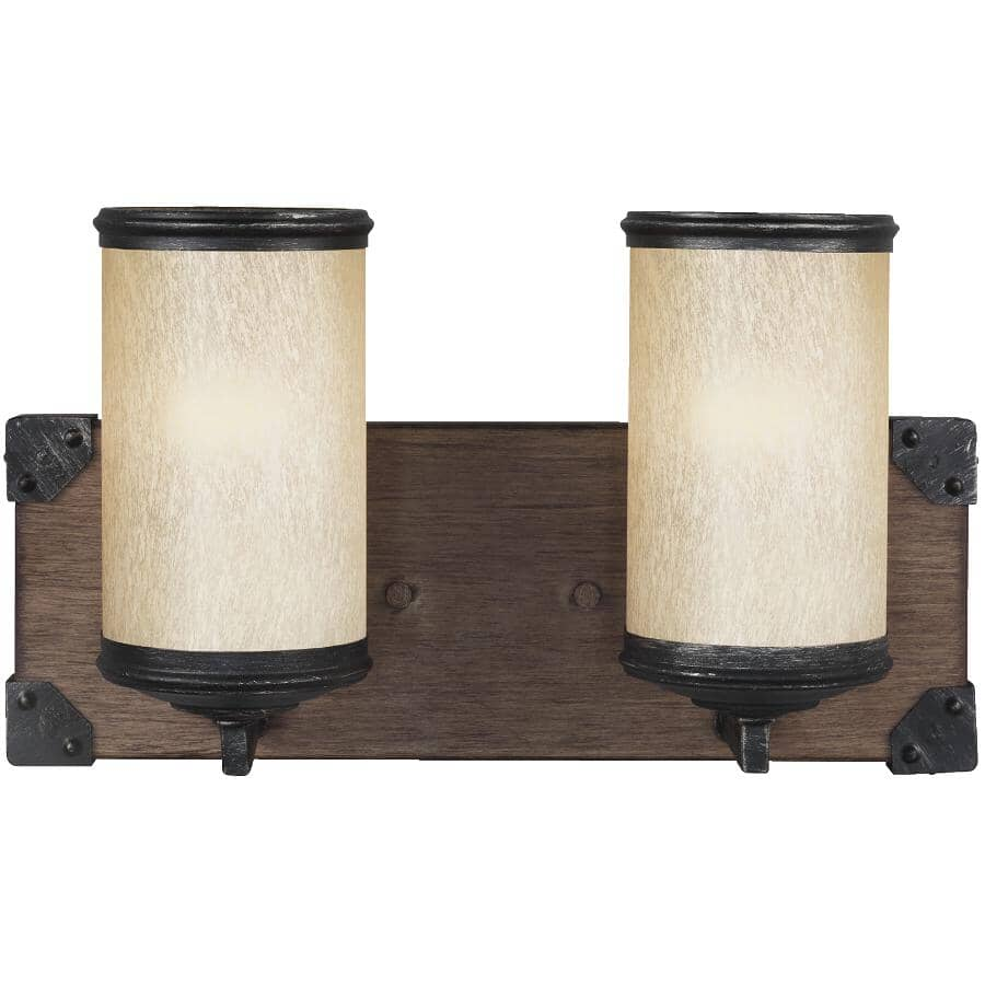SEA GULL:2 Light Stardust Dunning Vanity Light Fixture with Creme Parchment Glass