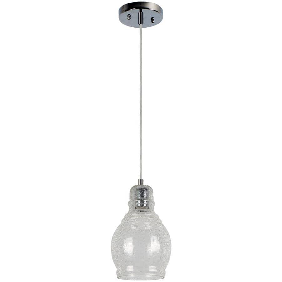 BELDI:Luminaire suspendu à 1 lampe de la collection Vieste avec verre craquelé, nickel satiné