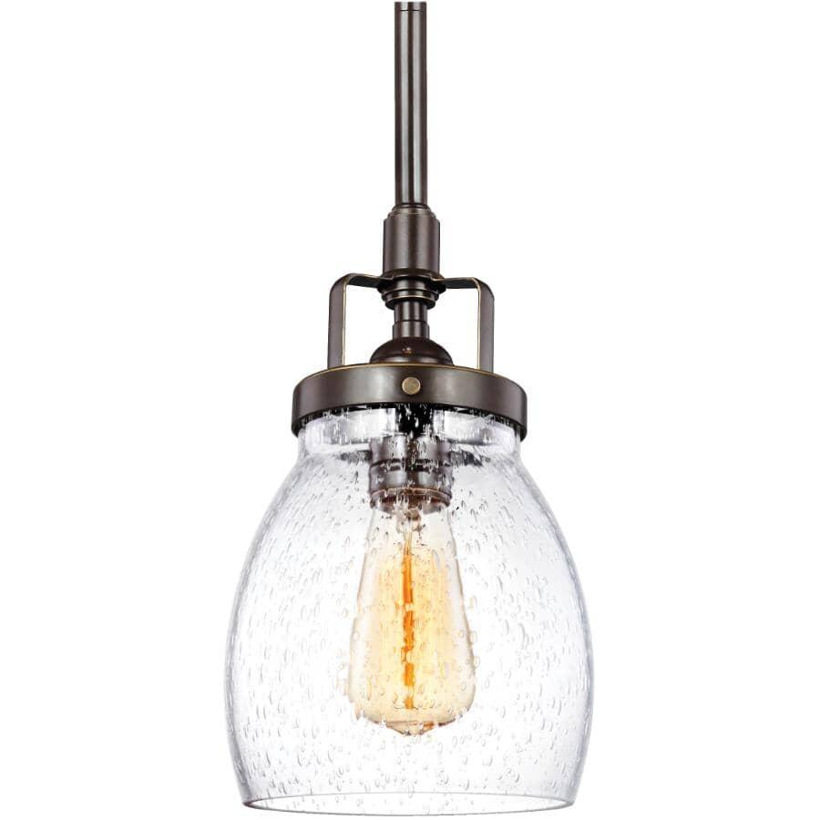 SEA GULL:Belton1 Light Bronze Pendant Light Fixture with Seeded Glass