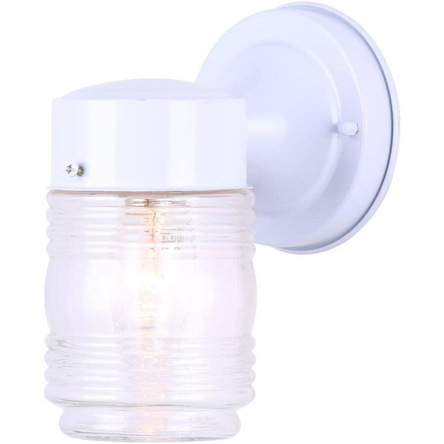 GALAXY:Luminaire extérieur de 7 po en forme de bocal de confiture avec verre transparent, blanc