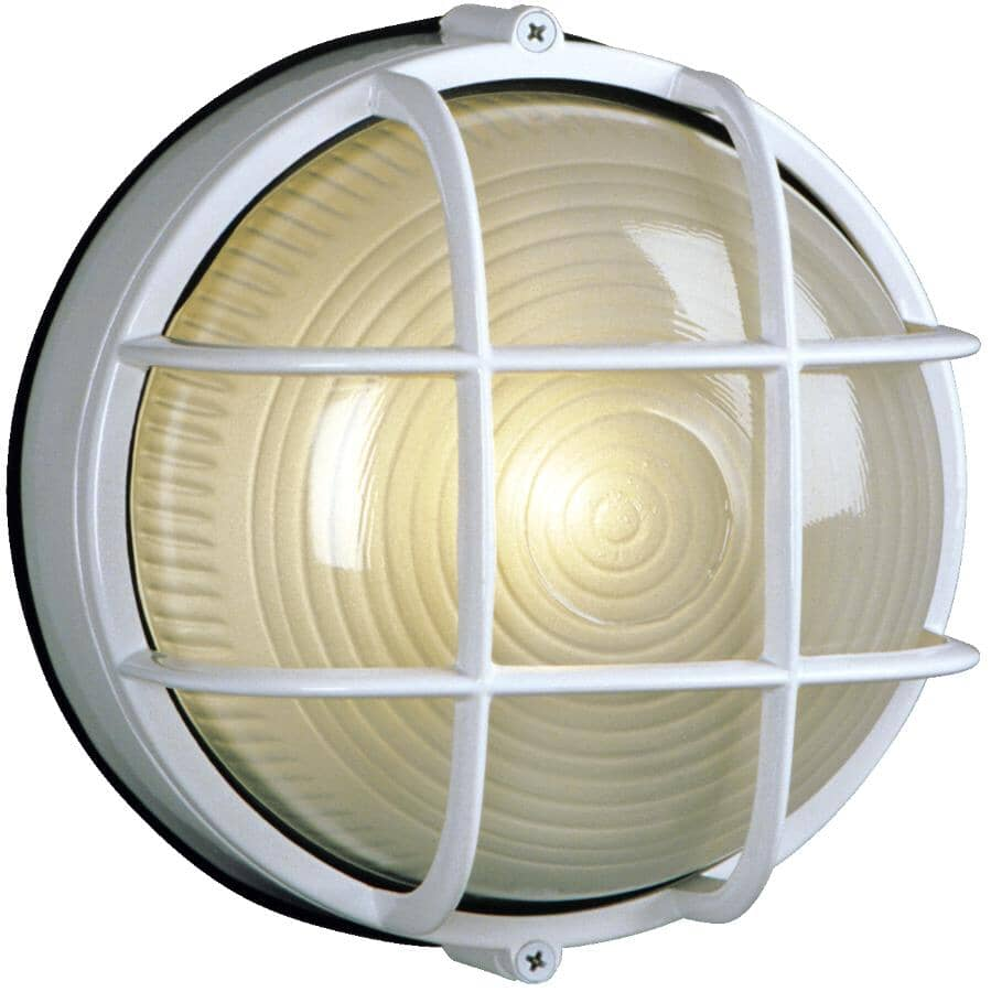 """GALAXY:8"""" Round White Outdoor Wall Light Fixture with Frosted Glass"""