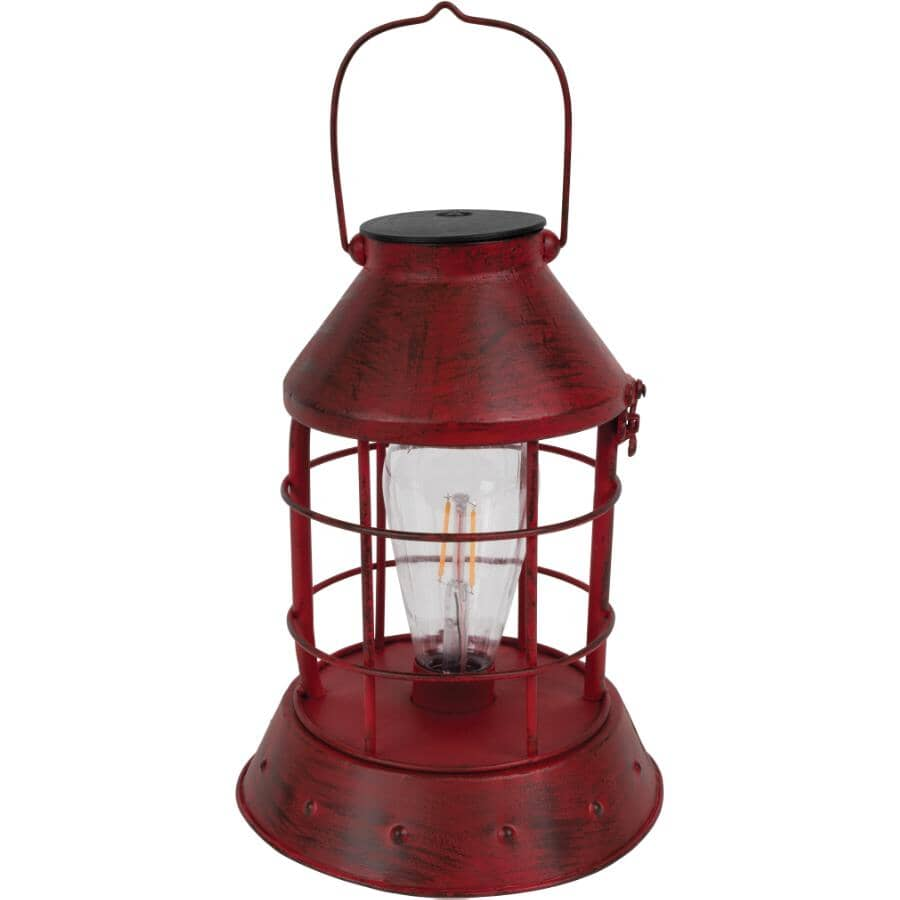 """FUSION:9.25"""" Red Metal Battery Operated Filament Bulb Hurricane Lantern"""