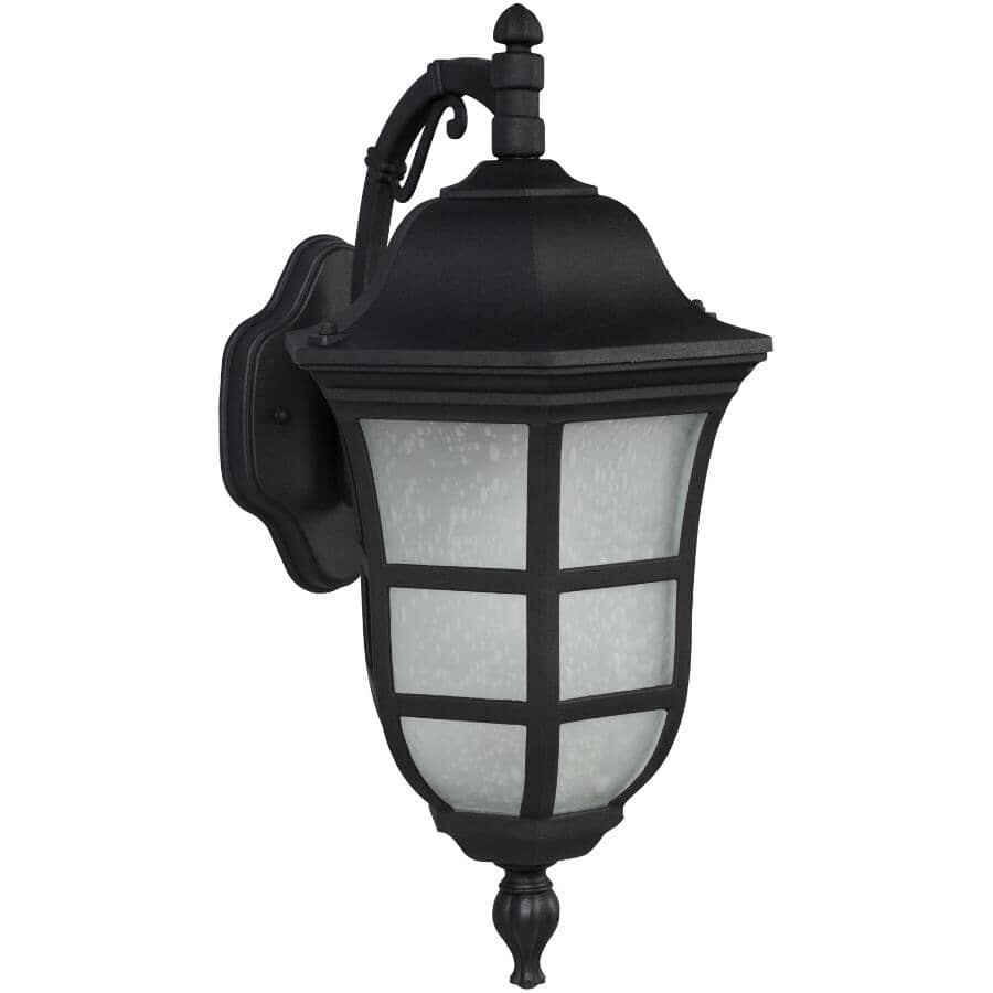"""GALAXY:18.75"""" Black Outdoor Downward Coach Light Fixture with Frosted Seeded Glass"""