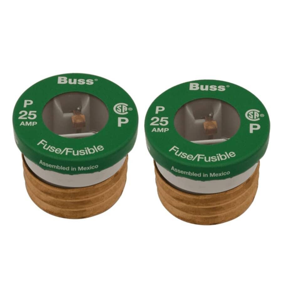 BUSSMANN:2 Pack 25 Amp P Plug Fuses