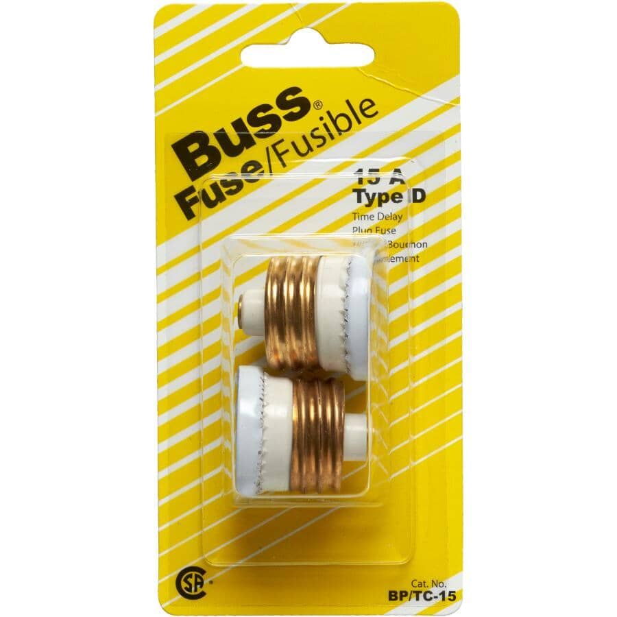 BUSSMANN:15 Amp D-Type Plug Fuse - with Time Delay, 2 Pack