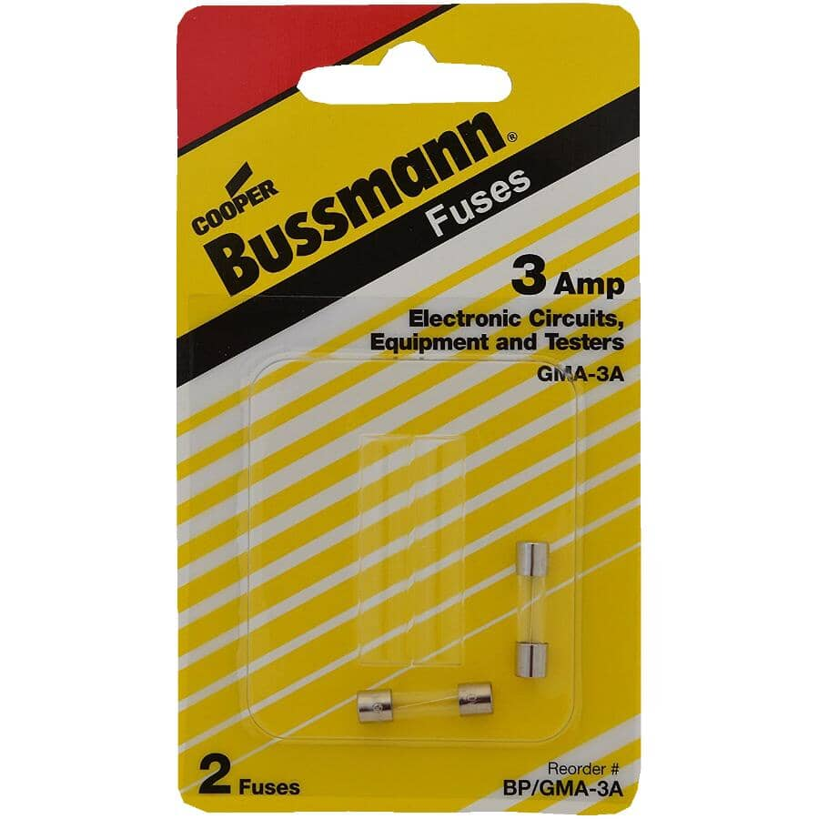 BUSSMANN:3 Amp Fast Act Glass Fuses - 2 Pack