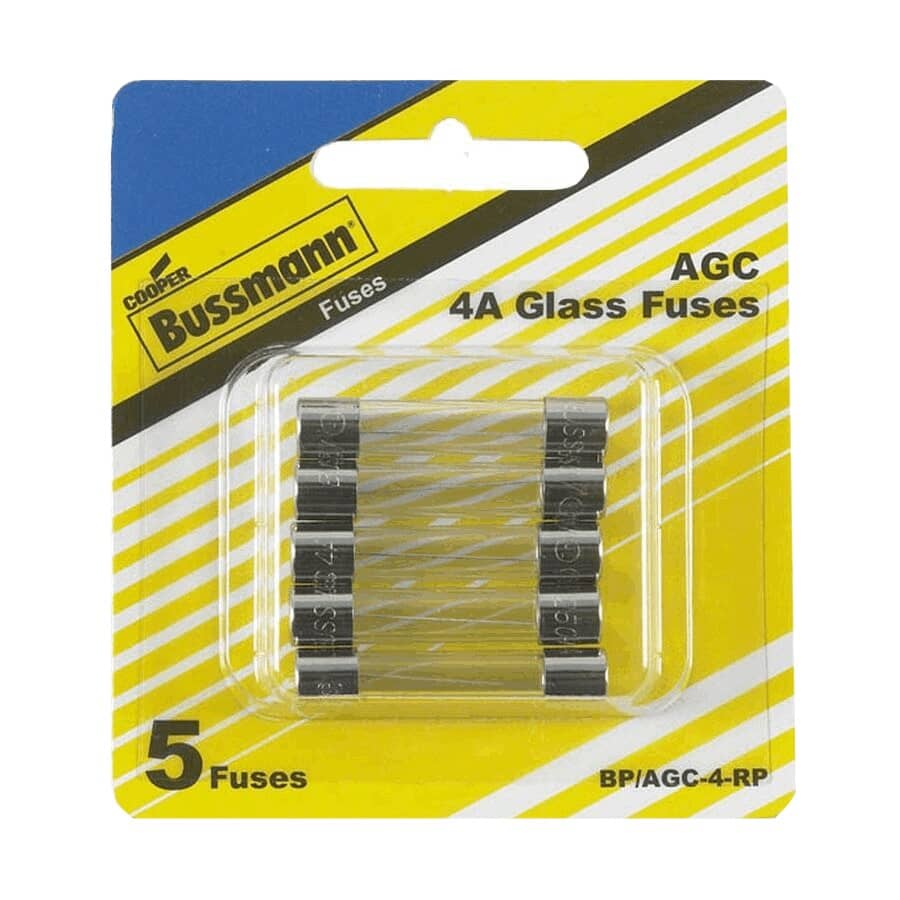 BUSSMANN:4 Amp Fast Act Glass Fuses - 5 Pack