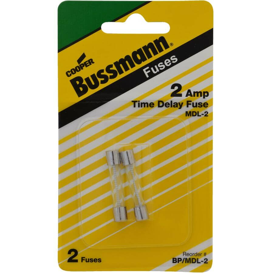BUSSMANN:2 Amp Time-Delay Glass Fuses - 2 Pack