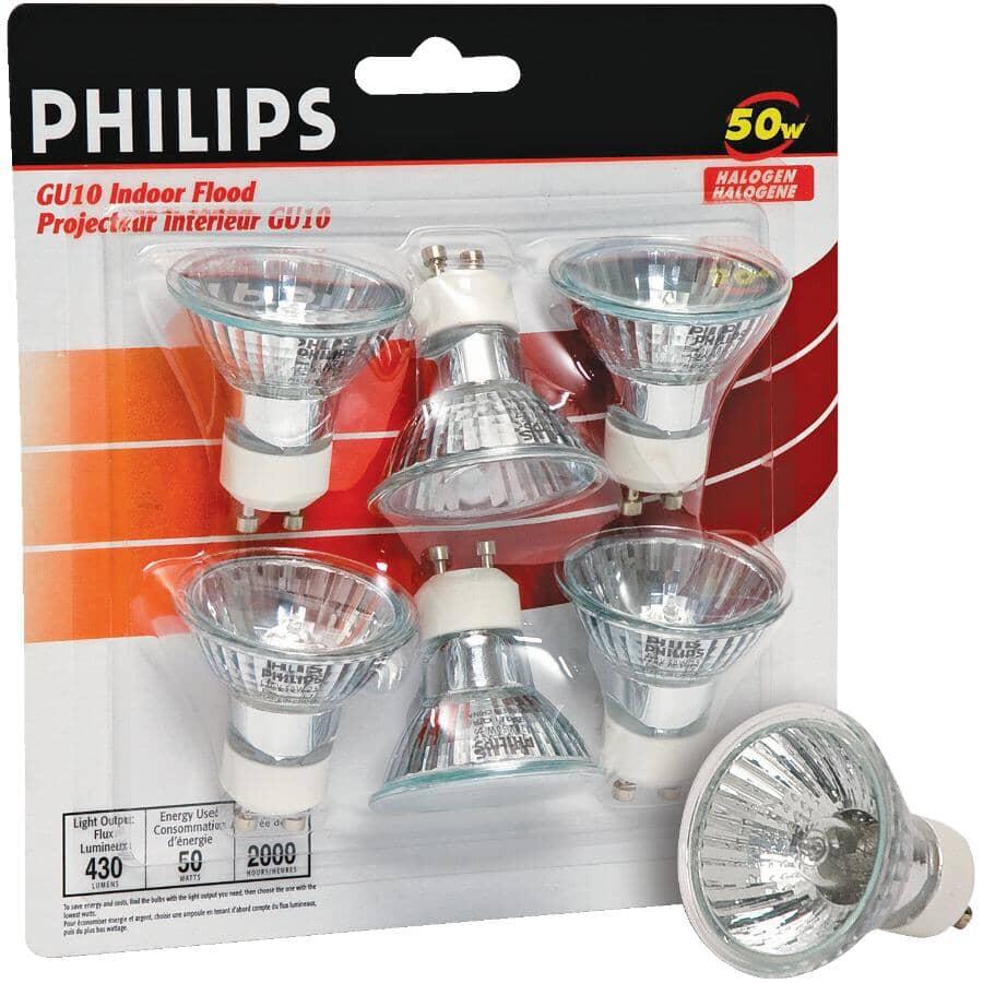 PHILIPS:6 Pack 50W MR16 GU10 Base Halogen Light Bulbs