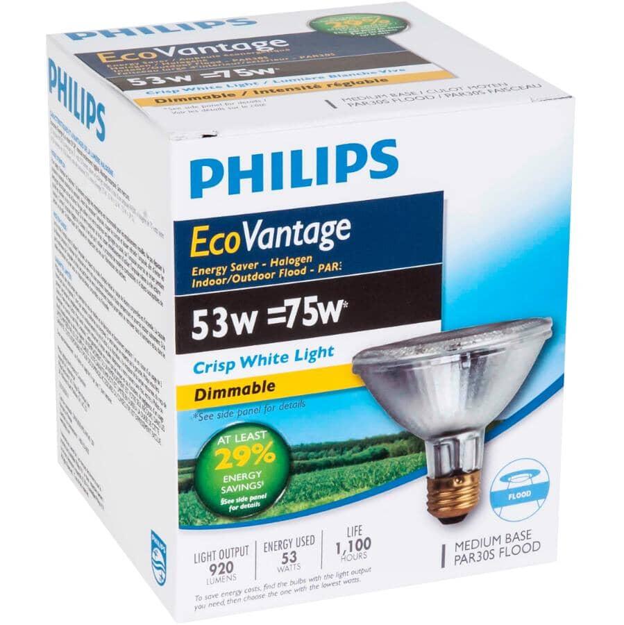 PHILIPS:50W Par30 Medium Base Dimmable Halogen Short Neck Flood Light Bulb