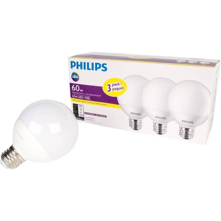 PHILIPS:3 Pack 6.5W G25 Medium Base Soft White LED Light Bulbs