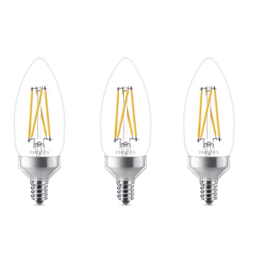 PHILIPS:Candelabra Base Dimmable LED Light Bulbs - Soft White, 2W, 3 Pack