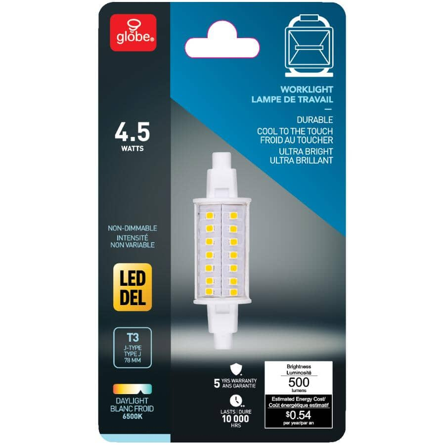 GLOBE ELECTRIC:4.5W T3 J78 Non-Dimmable LED Light Bulb