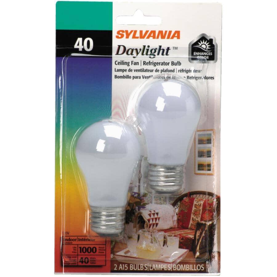 OSRAM SYLVANIA:2 Pack 40W A15 Medium Base Daylight Appliance Light Bulbs