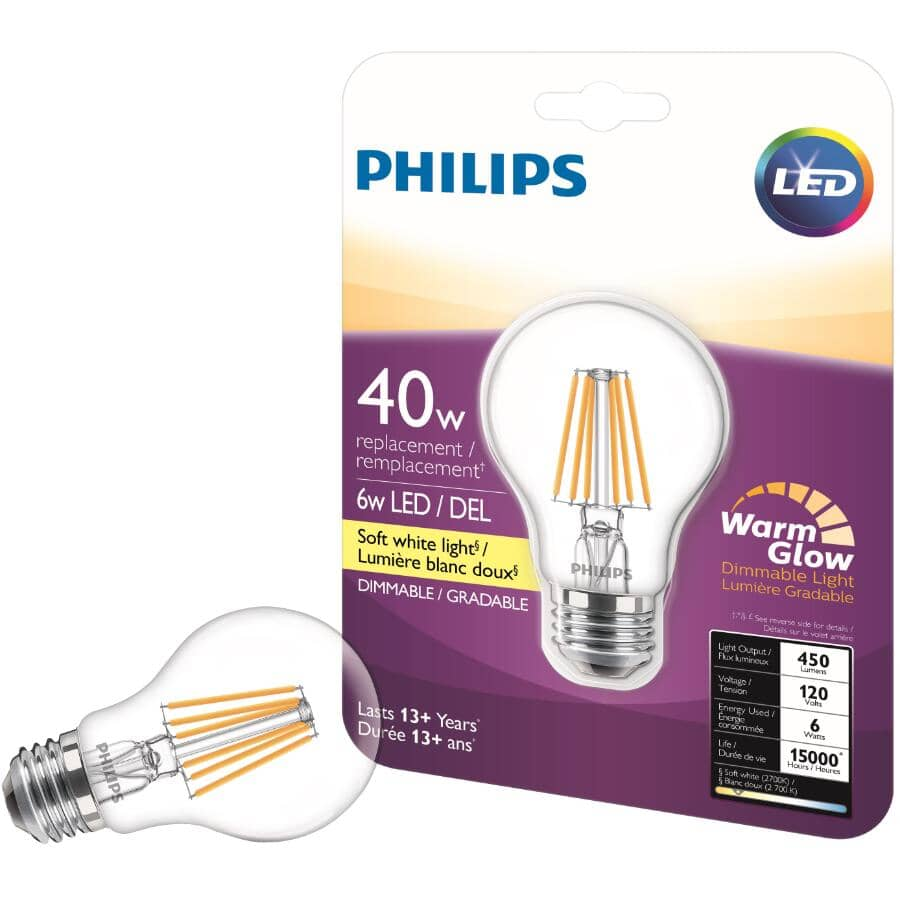PHILIPS:5.5W A19 Medium Base Soft White Warm Glow Clear Glass LED Light Bulb