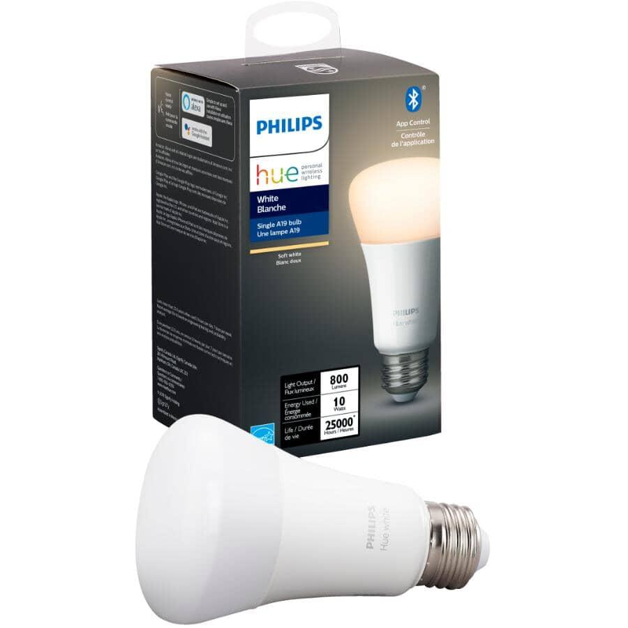 PHILIPS:Hue A19 Smart LED Light Bulb - White