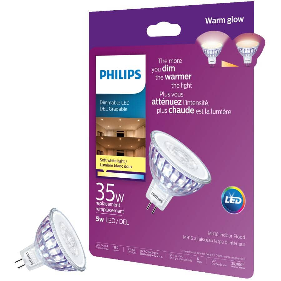 PHILIPS:5W MR16 GU5.3 Soft White Warm Glow Dimmable LED Light Bulb