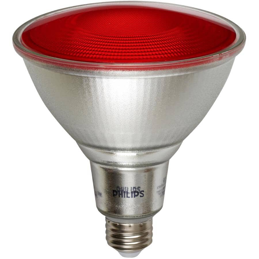 PHILIPS:13.5W PAR38 Medium Base Red Glass LED Light Bulb