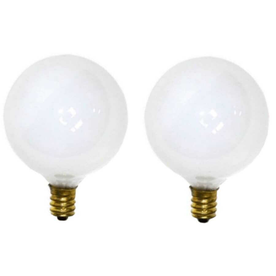 OSRAM SYLVANIA:25W G16.5 Candelabra Base White Globe Light Bulbs - 2 Pack