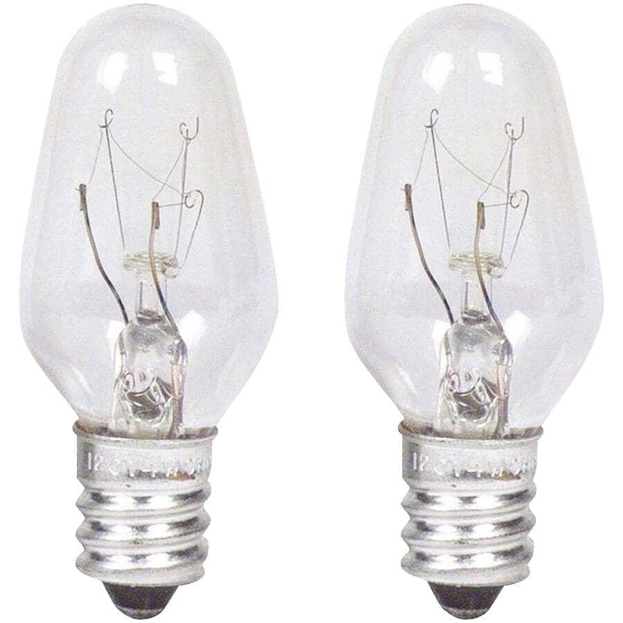 PHILIPS:2 Pack 7W C7 Candelabra Base Clear Night-Light Bulbs