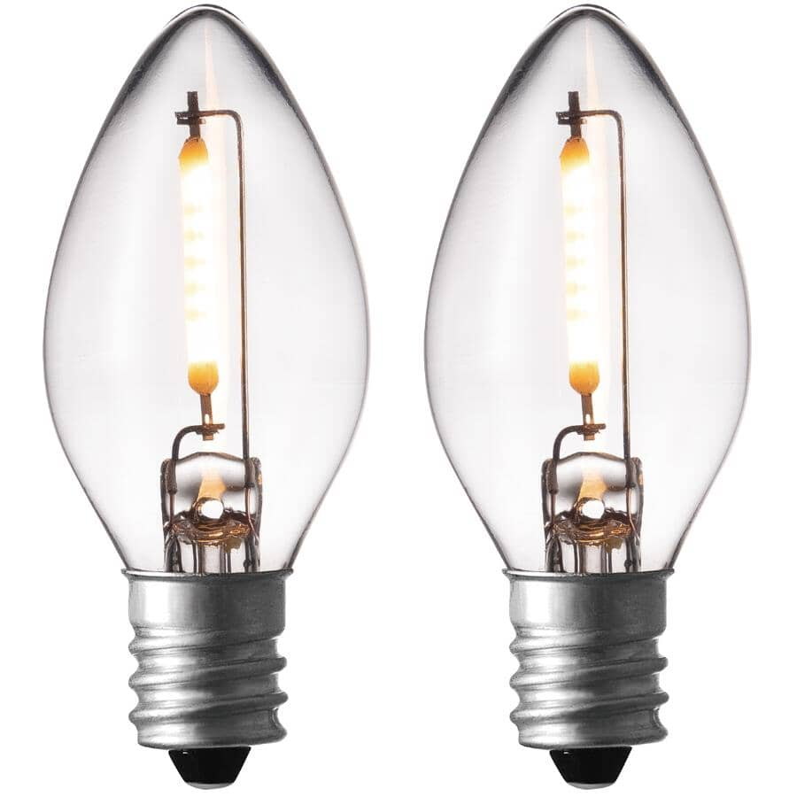 GLOBE ELECTRIC:0.5W Candelabra Base Clear LED Night Light Bulbs - 2 Pack