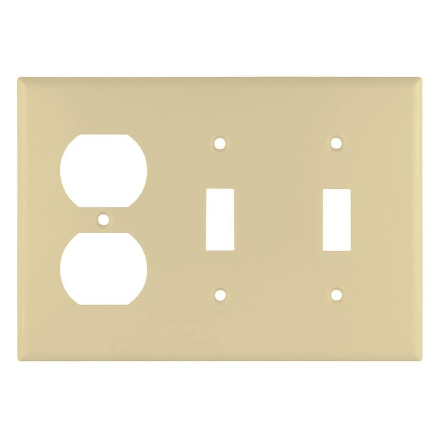 EATON:Ivory 2-Toggle/1-Duplex Switch/Receptacle Plate
