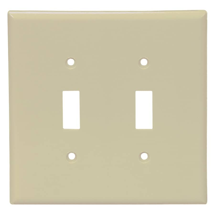 EATON:Ivory Plastic 2-Toggle Switch Plate