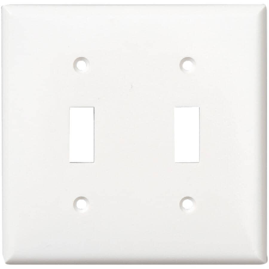 EATON:White Plastic 2-Toggle Switch Plate