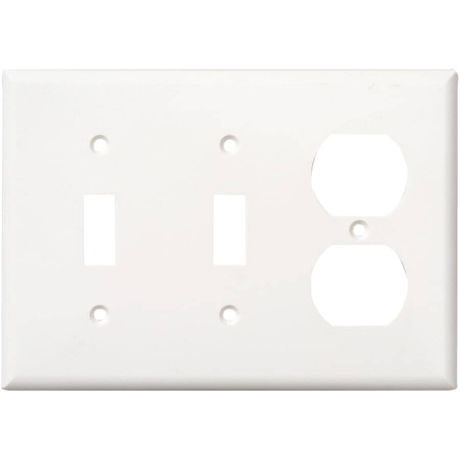 EATON:White 2-Toggle/1-Duplex Switch/Receptacle Plate