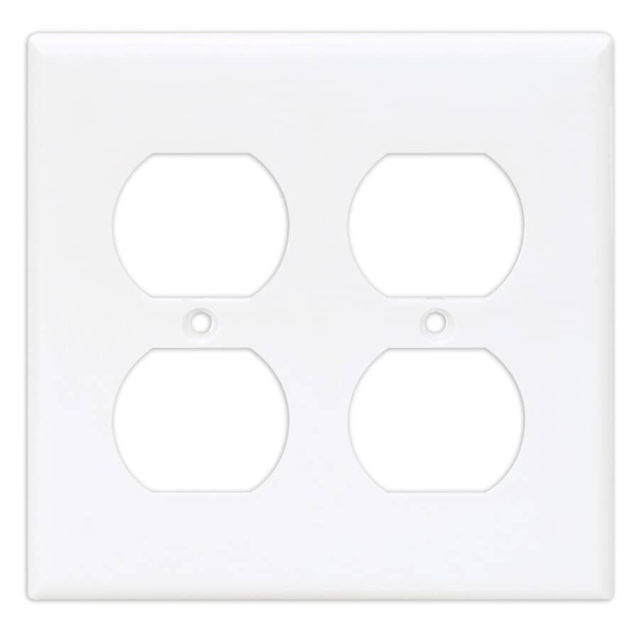 EATON:White Plastic 2-Gang Duplex Receptacle Plate